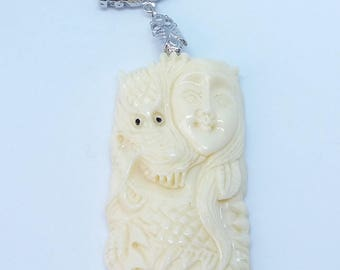 Resin - ref472 - silver - carved Asian dragon - 75x30x9mm