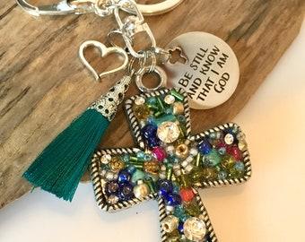 Boho Tassel Keychain, Christian Keychain, Beaded Keychain, Cross Keychain, Colorful Keychain, Purse Charm, Boho Accessory, Fun Keychain