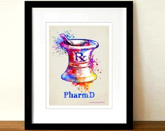 "Watercolor Mortar and Pestle, 8.5"" x 11"" print, Medical print, Pharmacist graduation gift, Pharm D. certification gift, Pharmacy print, RX"