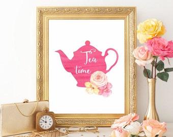 Tea time print Tea printable Tea art print Tea poster Kitchen art print Kitchen decor Kitchen printable Watercolor tea pot pink Digital