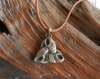 Odin's Triple Horn Pendant in Bronze
