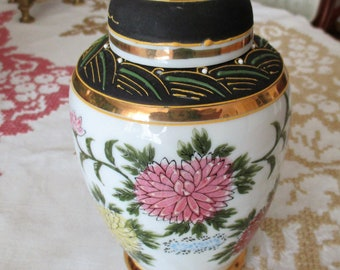 vintage vase,japanese vase,Vse with Lithophane,hand painted