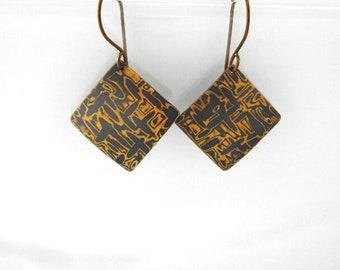 Mokume Gane Hammered Copper and Brass Dangles