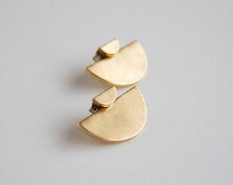 Half circle ear jacket set- small crescent stud earrings- sterling silver- Brass- modern post earrings