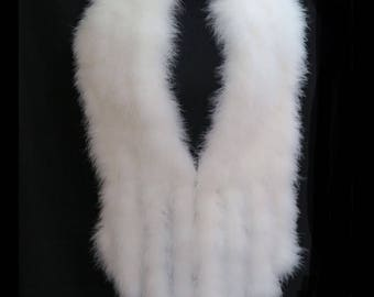 HOLLYWOOD Vintage Style LUXURIOUS Ivory Soft Marabou Feather Stole with Tails Shrug Wrap Stole Cape