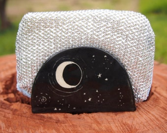 Sponge holder napkin holder kitchen sponge holder black starry night design kitchen sponge holder, business card holder