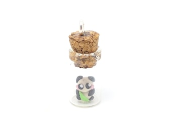 Tiny miniature polymer panda in a bottle charm