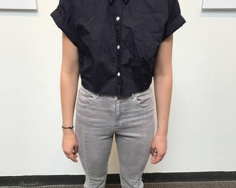 Vintage Navy Collared Button Down Short Sleeve Crop Top