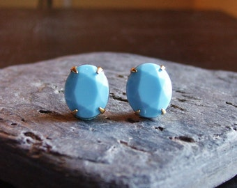 Light blue turquoise stud earrings, blue glass posts, estate style earrings, holiday gift ideas, gift ideas for her, unique Christmas gift