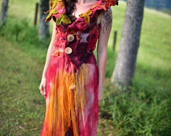 Melted Felted Autumn Gown-Fairy Autumn Cloak-Felt Leaf Costume-Pixie Vest-Woodland Costume-Felt Leaf Vest-Gown-Vest-Fantasy Costume OOAK