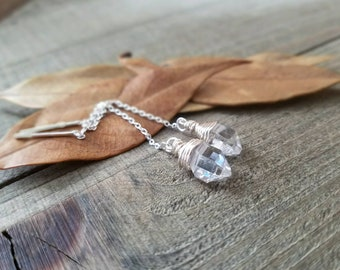 Herkimer diamond earrings - Herkimer ear threads - herkimer diamond jewelry - sterling silver threaders - ear threaders - herkimer threaders