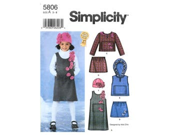 Simplicity 5806 Child Girls Pullover Jumper Vest Top Skirt Hat Size 3-8 Uncut