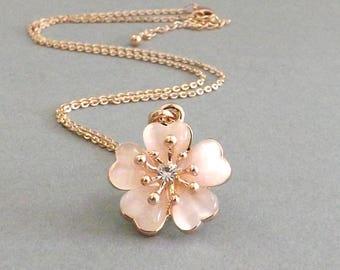 Gift for Mom, Cherry Blossom Necklace, Sakura Necklace, Pink Cherry Blossom Wedding, Flower Girl Gift, Bridesmaid Jewelry Bride Necklace