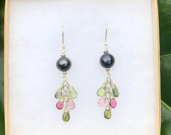 Tahitian Pearl and Rainbow Tourmaline Dangle Earrings in Sterling Silver