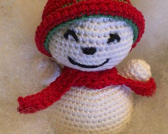 crochet snowman ornament, snowman amigurumi