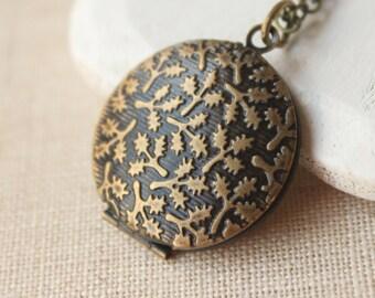 Photo locket Pendant necklace Oak leaf Locket necklace Antiqued brass locket keepsake gift vintage style photo locket long chain locket N16