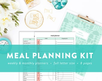 Meal / Menu Planning Kit - Monthly Meal Planner - Weekly Meal Planner - Pantry and Freezer Inventory - INSTANT DOWNLOAD