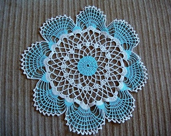 Hand Crocheted Doily - Dollie Beige and Blue