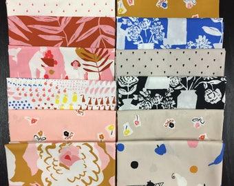 Sidewalk Flowers - Khaki - To Market To Market - Emily Isabella - Cloud9 Fabrics - Organic Cotton Fabric By the Half Yard