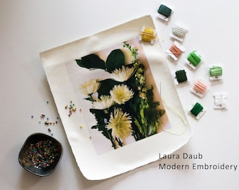 Artist Needlepoint Kit - Modern Embroidery and Beading - Spring Floral Bouquet 002