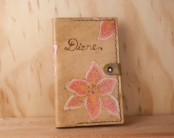 Leather Bible Cover - Custom with inscription and lilies in pink and brown - Monogram Bible Cover, Third Anniversary Gift