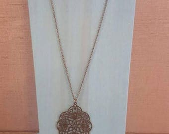 30 inch antique bronze necklace with antique bronze filigree pendant