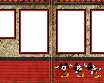 Vintage Mickey - Digital Scrapbooking Quick Pages - INSTANT DOWNLOAD