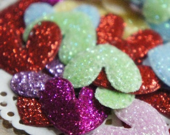 Glittery Card Hearts (50pcs)