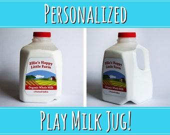 Toy Milk Jug - Play Milk Jug - PERSONALIZED Pretend Milk - Pretend Milk Jug - Toy Milk - Grocery Toy - Play Food - Pretend Milk