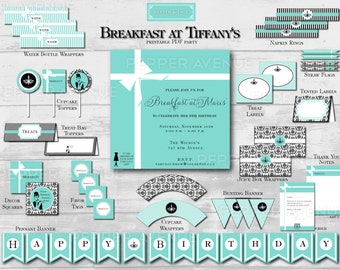 Breakfast at Tiffany's Package - Birthday Party, Bridal or Baby Shower - Digital Printable PDF Files (Partial Instant Download)