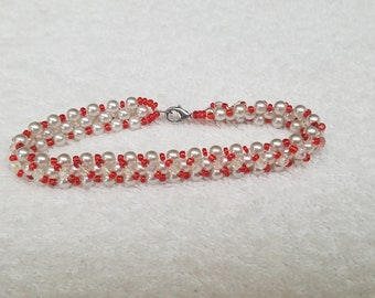 "Reversible Glass Pearl and Seed Bead 7&1/2"" Bracelet"