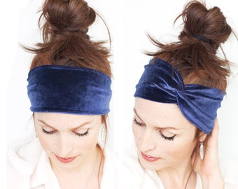 Velvet Headband - Deep Blue Purple Yoga Headband Womens Hair Accessories Headbands n Turbans Headwrap Vegan Accessory Workout Heaband