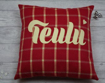 Teulu Cushion/ Handmade Welsh appliquéd teulu/family cushion/pillow