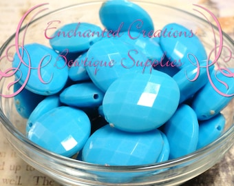 24mm x 20mm Light Blue Oval Faceted Acrylic Beads Qty 10
