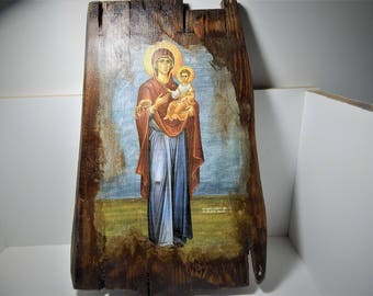 Custom made Orthodox icon,Virgin Mary ,Religious icon,Vintage Orthodox icon of Mary Mother of God,Madonna ,Byzantine icon