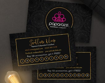 Paparazzi business cards free personalized paparazzi jewelry paparazzi punch cards free personalized paparazzi jewelry loyalty card black goldpink reheart Images