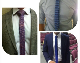 Hand knitted man's skinny tie tweedy look, various shades