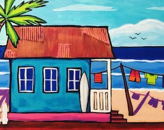 Caribbean life, Caribbean house , tropical art, island art, original acrylic painting.  Whimsical art . Caribbean life . Beach art.