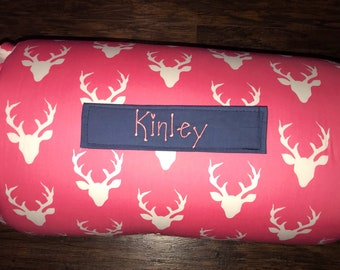 """Personalized 1"""" Memory Foam Preschool / Kinder Nap Mat in Art Gallery Hello Bear Buck Forest Fabric with Pillow, Minky Blanket and 1"""" memory"""