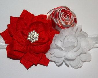 Valentine's Day Heart Crystal Rhinestone Flower Boutique Headband (13.5 inches NB-6M)