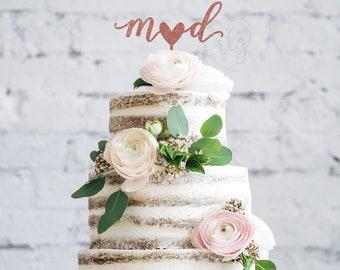 Cake Topper | Lowercase Initials | Heart | Calligraphy | Metallic | Glitter | Wood | Gold | Rose Gold | Custom