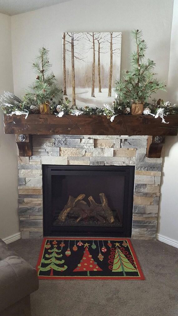 Vintage Fireplace Mantel Wooden Floating Rustic Knotty Alder