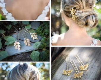 Gold Leaf Laurel Hair comb, Boho Bridal hair comb, Vintage Bridal haircomb, Bohemian Wedding Gold Hair accessory - 'GARDEN COLLECTION'