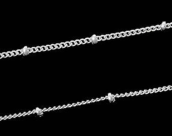 """Beaded"" chain silver 1.7x1.3mm sold by the yard"