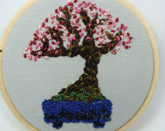 Hand Embroidered Prunus mume Bonsai Hoop Art - bonsai tree, 3 inch hoop, home decor, orient, japanese, custom work available