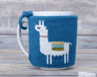Llama lovers gift, Mug sweater, Tea sleeve, Cup warmer, Knitted coffee mug cozy, Party favor,  Hot drink cosy, Animal print, centerpiece