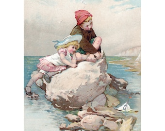 Children at the Shore Seaside Greeting Card - Lizzie Lawson Mack Repro