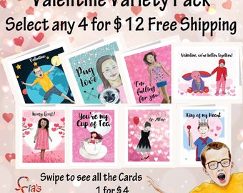Artistic Valentine's Day greeting cards w/ envelopes Variety Pack. Inspirational note cards of whimsical drawings. FREE Shipping to US!