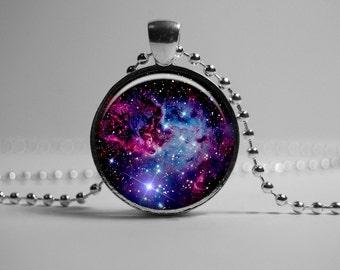 Galaxy Nebula Pendant Necklace - Turquoise Universe Jewelry - Star sky gift