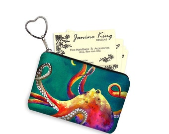 Clara Nilles Octopus Business Card Holder Steampunk Fabric Pouch Key Fob Small Zipper Bag Coin Purse Key Chain teal green pink  RTS